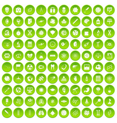100 science icons set green vector