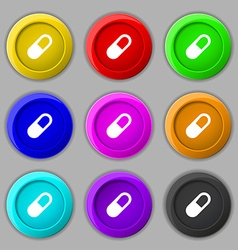 Pill icon sign symbol on nine round colourful vector
