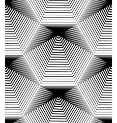 Geometric monochrome stripy seamless pattern black vector image