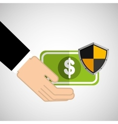 Security concept hand with money vector