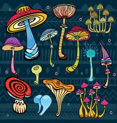 Set of stylized mushrooms vector