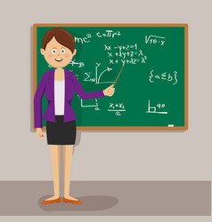 Female teacher with pointer next to blackboard vector