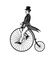 Man on retro vintage old bicycle engraving vector
