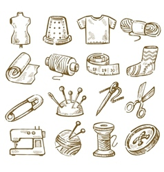 Hand drawn sewing vector