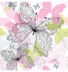 Seamless floral pattern with butterfly vector