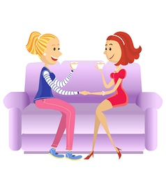 Lovers women sitting in room on couch vector