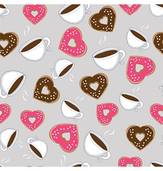 Seamless pattern of hot chocolate and donuts vector