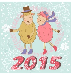 2015 card with cute sheeps couple kissing vector