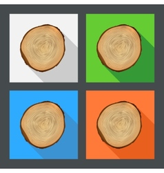 Tree growth rings flat icons vector