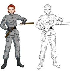 Caucasian nunchuck girl in military uniform vector