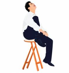 Young business man sits on stool vector