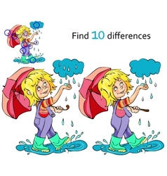 Cartoon kid playing in the rain vector image