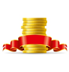 Stack of coins with a red ribbon concept of pecuni vector