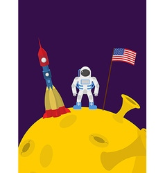Astronaut on moon cosmic man with the flag of vector