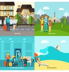 Tourism 4 flat icons square banner vector