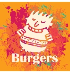 Man eating burgers vector