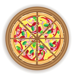 Pizza cut on a wooden board vector