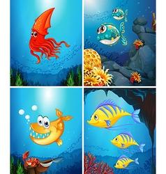 Sea animals living under the ocean vector image