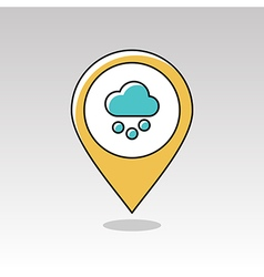 Cloud with snow grain pin map icon weather vector
