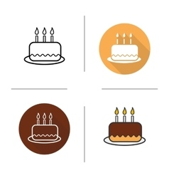 Birthday cake flat design linear and color icons vector