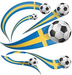 Sweden flag set with soccer ball vector