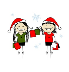 Christmas shopping with friends girls with bags vector