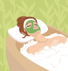woman with mask on his face relaxes vector image