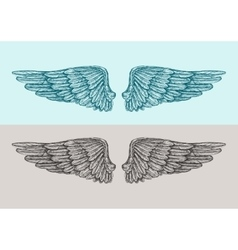 Hand drawn vintage angel wings sketch vector