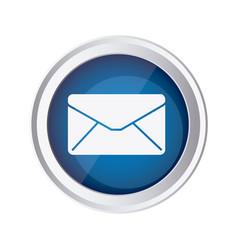 Blue emblem close message envelope icon vector