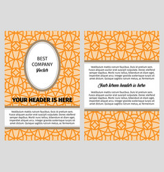brouchure with orange vintage arabic pattern vector image vector image