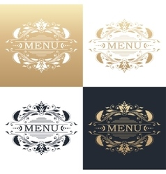 Calligraphic design element golden menu vector