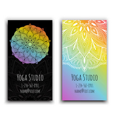 Cards template for yoga studio isolated vector