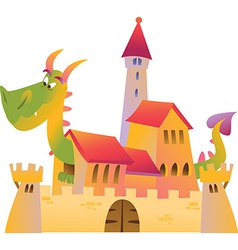 Cartoon dragon and castle vector image vector image