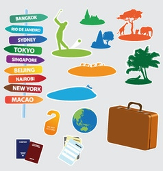 collection of exotic trip icons vector image vector image