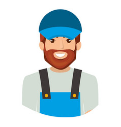 colorful portrait half body of bearded delivery vector image