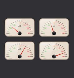 Decibel meters on dark background vector