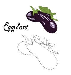 Educational game connect dots draw eggplant vector
