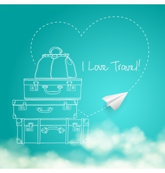 Flying paper plane around travel vector