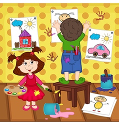 girl and boy artists vector image