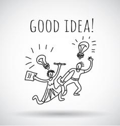 Good idea happy creative couple team black and vector