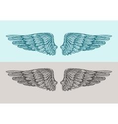 Hand drawn vintage angel wings sketch vector