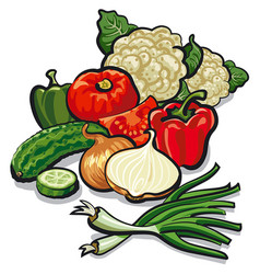 Harvest of vegetables vector