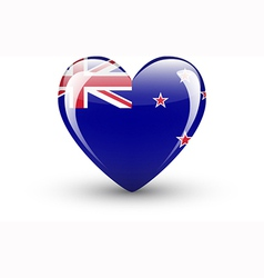 Heart-shaped icon with flag of New Zealand vector image