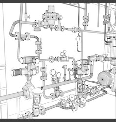 industrial equipment wire-frame vector image
