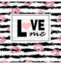 Love me pink lips kisses prints background vector
