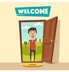 Open door welcome cartoon vector