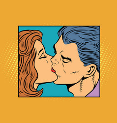 Poster man and woman kissing vector