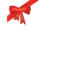 red ribbon and bow on white background vector image vector image