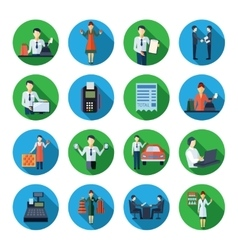Salesman flat round icons set vector