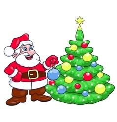 Santa decorating christmas tree 2 vector